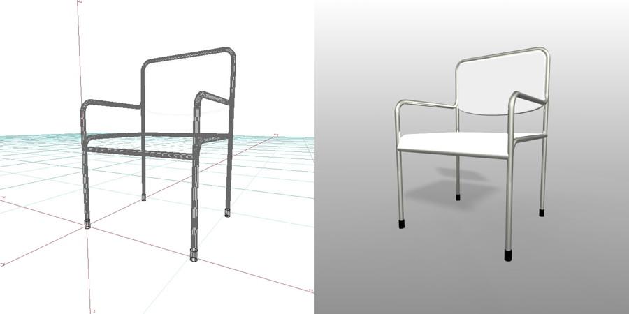 白色のパイプ椅子 肘掛ありの3DCADデータ丨インテリア 家具 椅子丨無料 商用可能 フリー素材 フリーデータ丨データ形式はformZ v3.95以上です