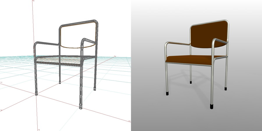 formZ 3D インテリア 家具 椅子 パイプ椅子 肘掛あり interior furniture chair