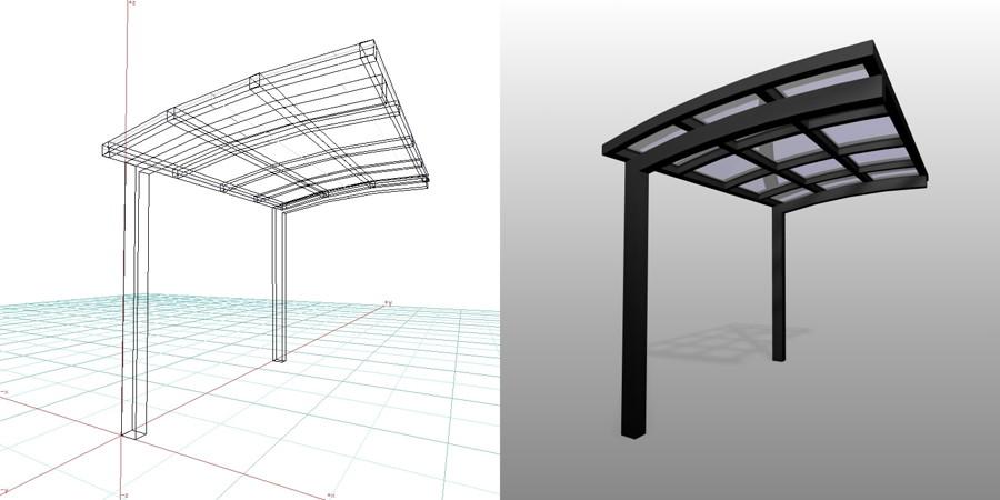 formZ  3D エクステリア 車庫廻り サイクルポート ブラック 三協立山