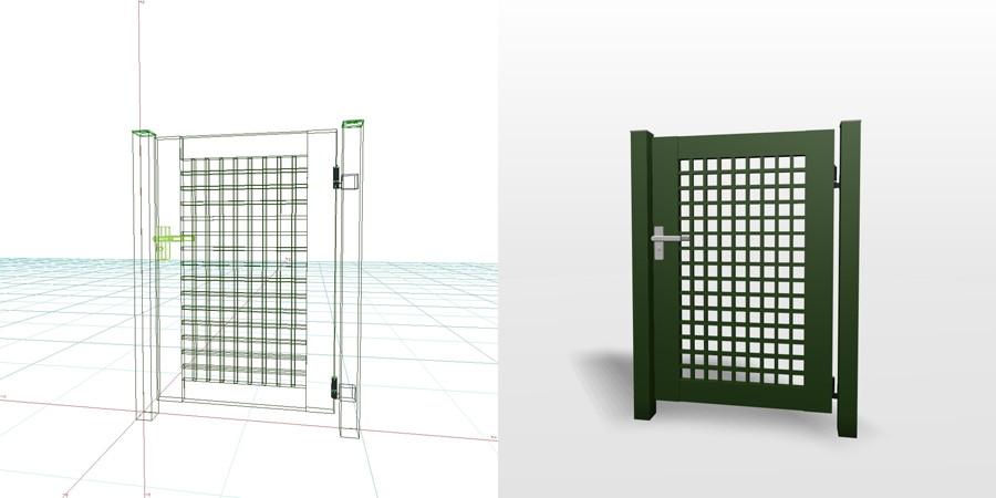 formZ 3D エクステリア 門扉 片開き門扉|【無料・商用可】3D CADデータ フリーダウンロードサイト丨digital-architex.com