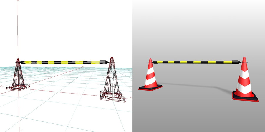 カラーコーン バー・反射板・ウェイト付きの3DCADデータ | 建設工事 仮設材 カラーコーン・バー | 無料 商用可能 フリー素材 フリーデータ | データ形式はformZ v3.95以上です | 区画用品 三角コーン トラバー コーンバー