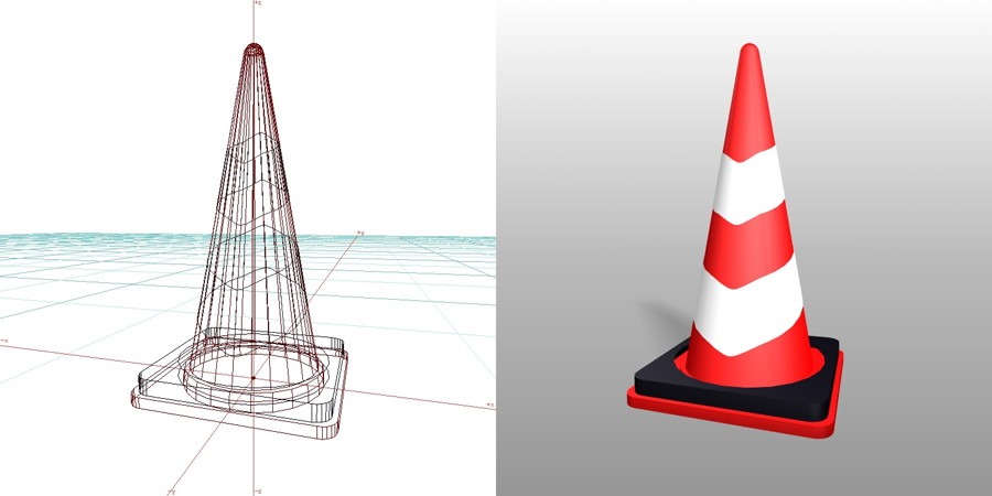 formZ 3D 建設工事 仮設材 カラーコーン パイロン 反射板 ウェイト付き