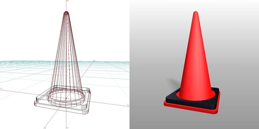 カラーコーン ウェイト付きの3DCADデータ丨建設工事 仮設材 カラーコーン丨無料 商用可能 フリー素材 フリーデータ丨データ形式はformZ v3.95以上です
