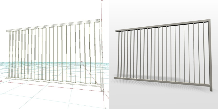 formZ 3D エクステリア フェンス 縦格子 2012 アルミフェンス