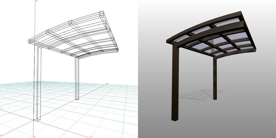 formZ  3D エクステリア 車庫廻り サイクルポート ダークブロンズ 三協立山アルミ