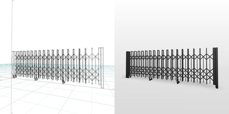 formZ 3D エクステリア 車庫廻り カーテンゲート ノンレール 引戸 ジャバラゲート アコーディオンゲート 駐車場