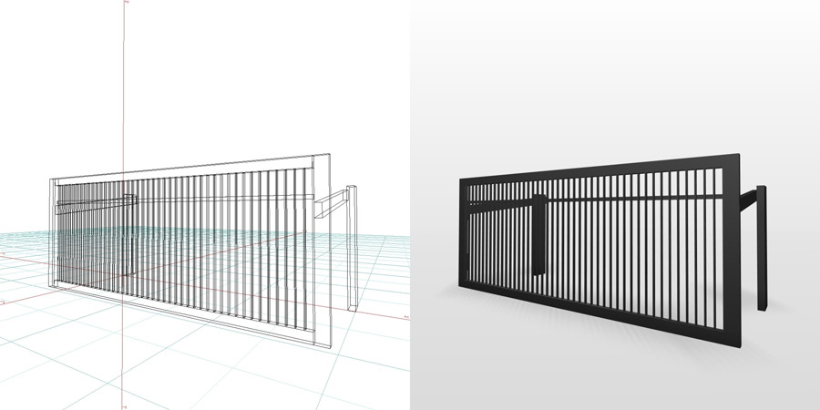 formZ 3D エクステリア 車庫廻り 駐車場 跳ね上げ門扉 ハイルーフ