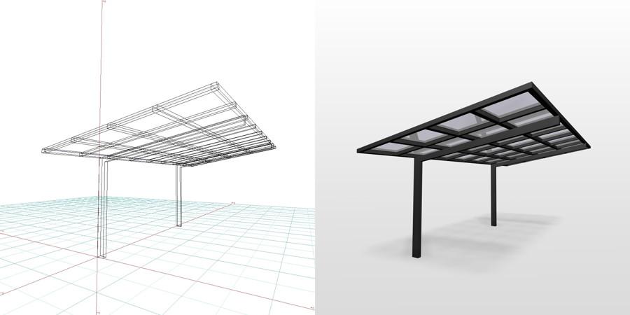 formZ  3D エクステリア 車庫廻り カーポート
