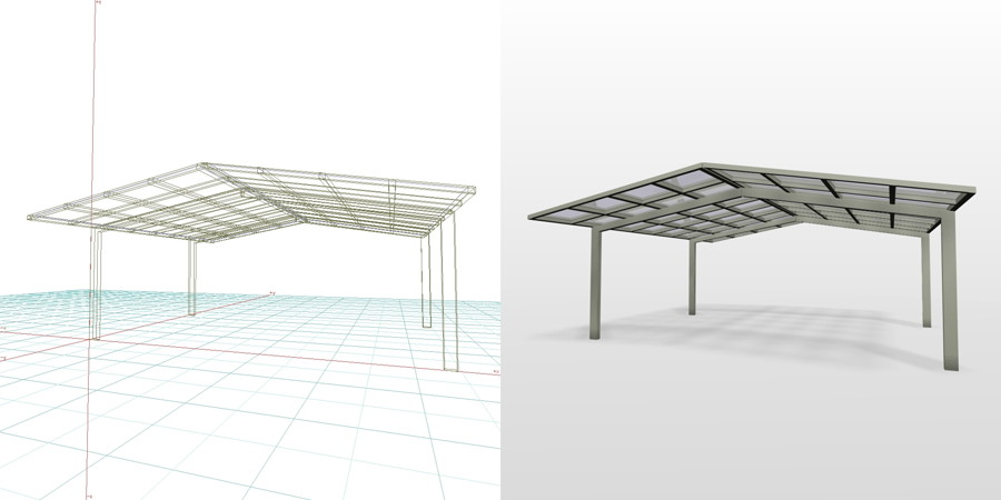 formZ 3D エクステリア 車庫廻り カーポート 合掌