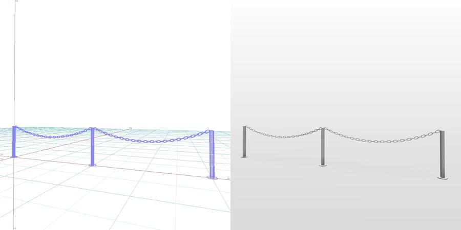 formZ 3D エクステリア 車庫廻り チェーンポール