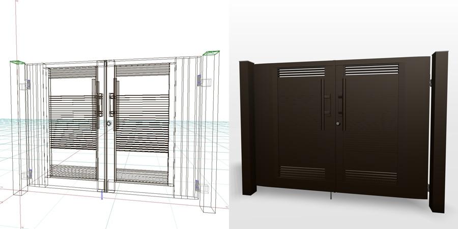 formZ 3D エクステリア 門扉 両開き門扉