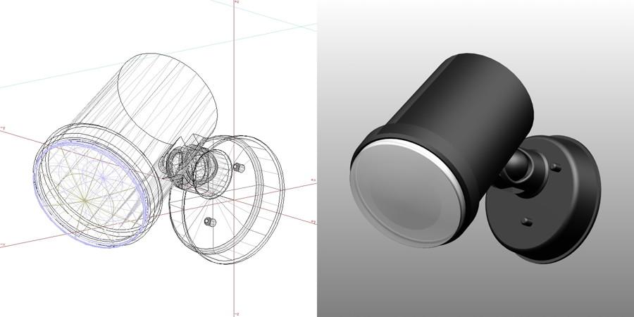 formZ 3D エクステリア 照明器具 スポットライト エクステリアライト ガーデンライト 黒色 フリー素材|【無料・商用可】3D CADデータ フリーダウンロードサイト丨digital-architex.com