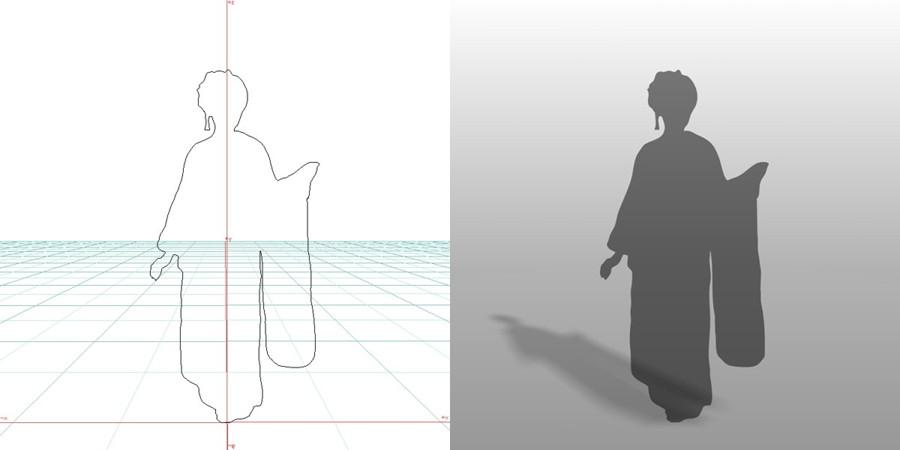 formZ 3D シルエット 女性 着物 振り袖