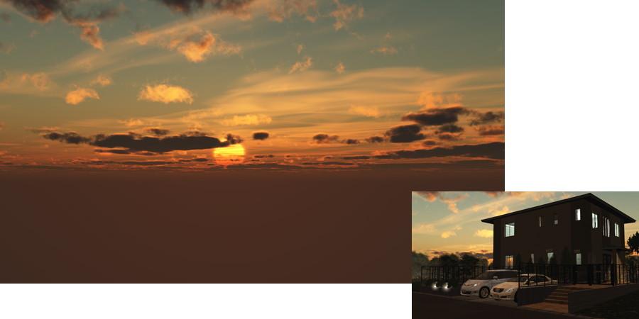 フリーデータ,2D,CG,背景画像,空,夕暮れ,雲,夕陽,夕焼け