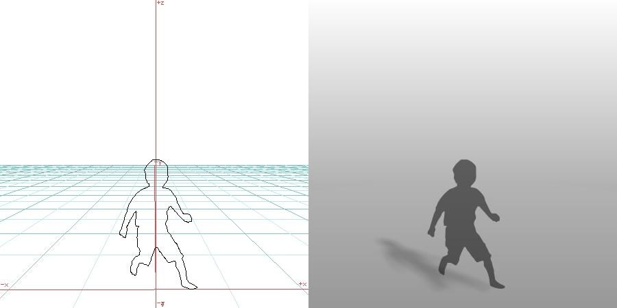 formZ 3D シルエット child 子供 boy 少年 男の子 走る running