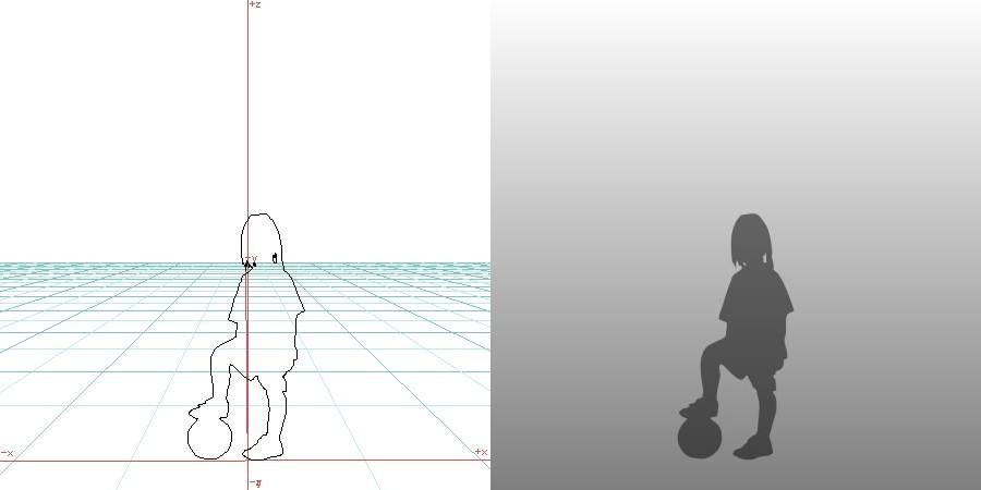 formZ 3D シルエット child 子供 girl サッカー少女 ボール ball