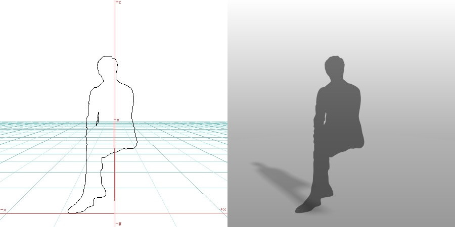 formZ 3D シルエット silhouette 男性 man 座る 足を組む sit