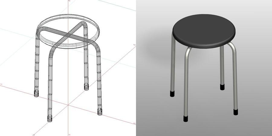 formZ 3D インテリア 家具 椅子 パイプ椅子 丸椅子 interior furniture chair