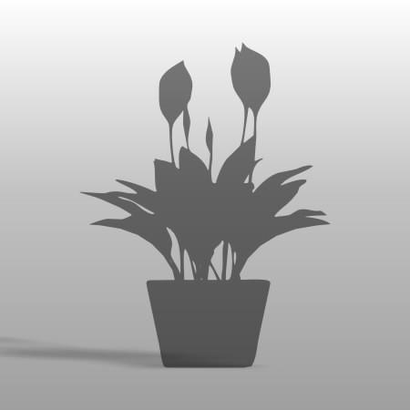 formZ 3D CAD ポリ板 小物 オブジェ object シルエット silhouette 植物 植木鉢 鉢 花