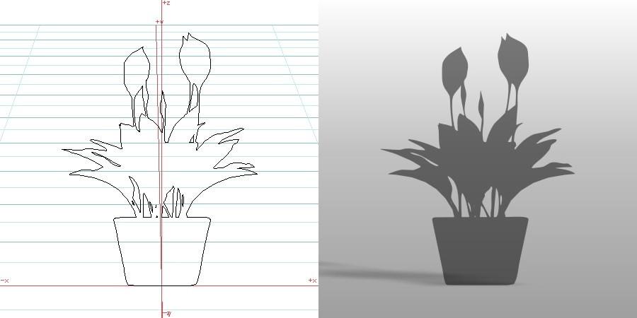formZ 3D ポリ板 小物 オブジェ object シルエット silhouette 植物 植木鉢 鉢 花