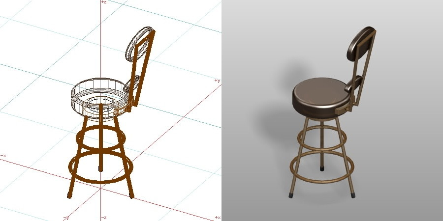 formZ 3D インテリア 家具 椅子 カウンターチェア interior furniture chair