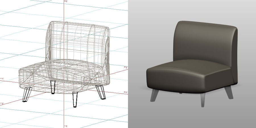 formZ 3D インテリア 家具 椅子 リビングチェア interior furniture living chair 居間