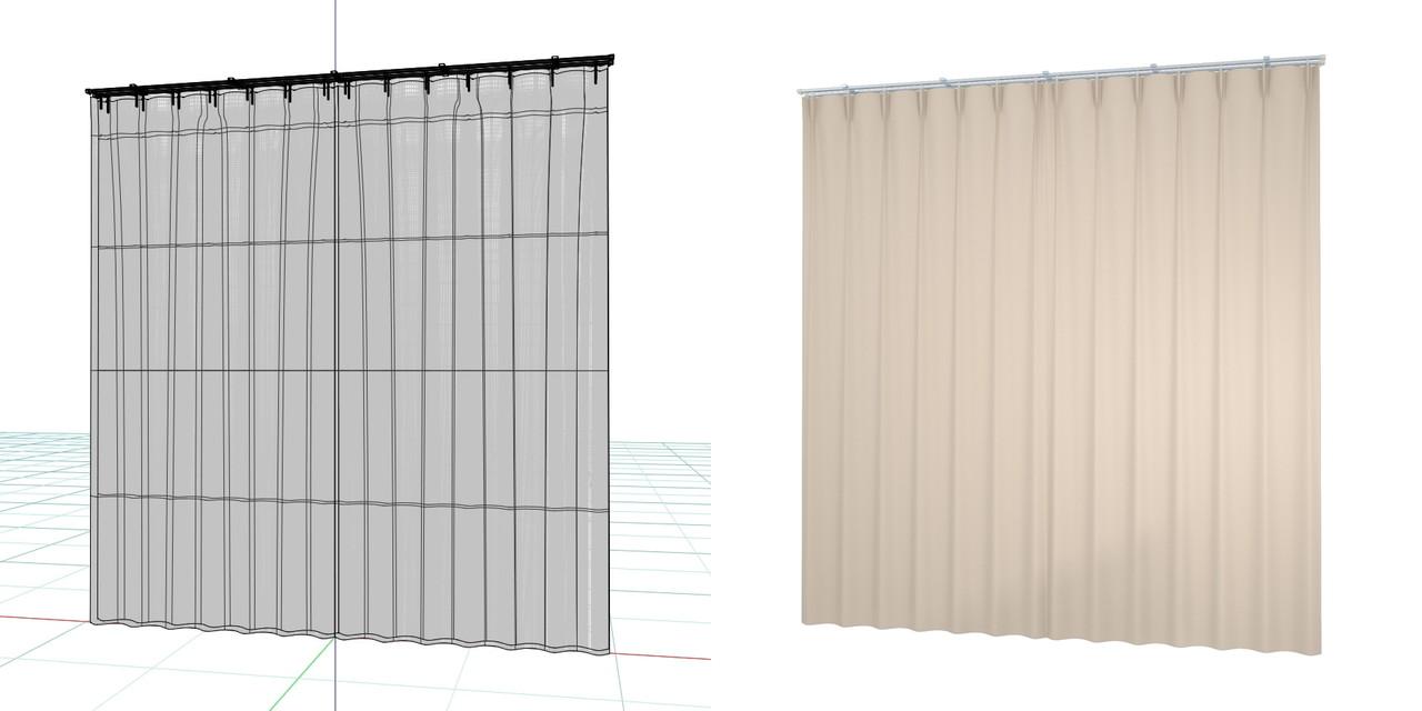 閉じたカーテンとレースのカーテン(ベージュ)の3DCADデータ│遮光カーテン レースのカーテン│シンプルなカーテンレール│3d cad データ フリー 無料 商用可能 建築パース フリー素材 formZ 3D 3ds obj  インテリア interior curtain