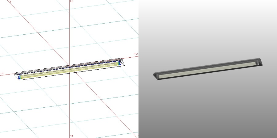 formZ 3D インテリア 照明器具 lighting equipment ベースライト 蛍光灯 反射傘