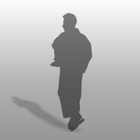 formZ 3D シルエット silhouette 男性 man 歩く walk 浴衣 日本 和服 夏 下駄