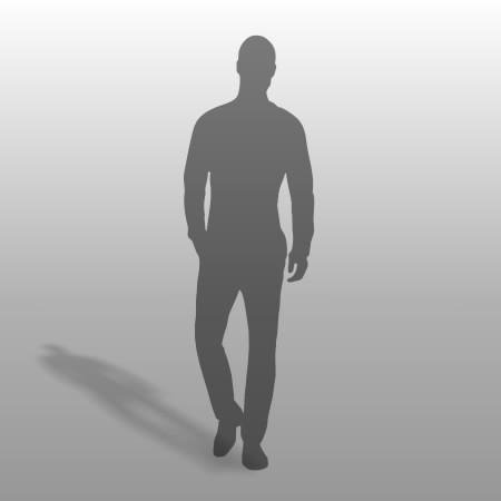 formZ 3D シルエット silhouette 男性 man 歩く walk サラリーマン ポケットに手を入れる スキンヘッド