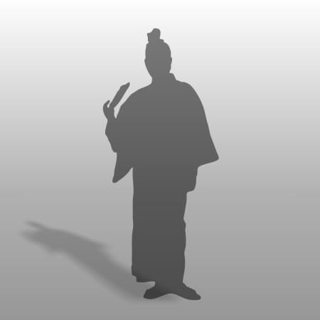 formZ 3D シルエット silhouette 男性 man 浴衣 日本 和服 夏 扇子