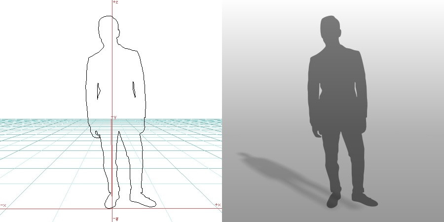 formZ 3D シルエット silhouette 男性 man スーツ