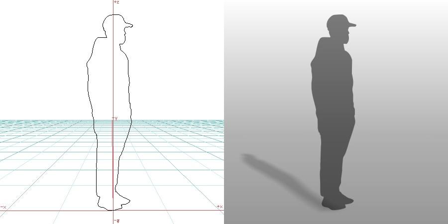 formZ 3D シルエット silhouette 男性 man パーカー 帽子
