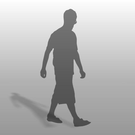 formZ 3D シルエット silhouette 男性 man 歩く walk めがね メガネ 眼鏡 ハーフパンツ
