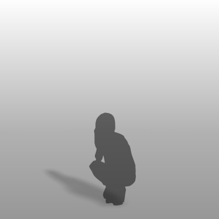 formZ 3D シルエット silhouette 女性 しゃがむ しゃがみこむ