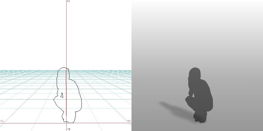 formZ 3D シルエット silhouette 女性 しゃがむ しゃがみこむ 座る
