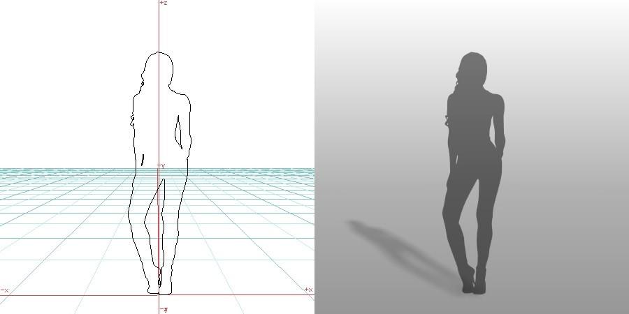 formZ 3D シルエット silhouette 女性 ポーズ モデル