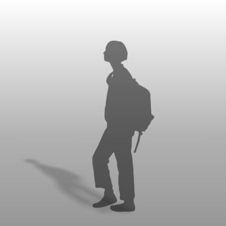 formZ 3D シルエット silhouette 女性 リュック 鞄 歩く walk