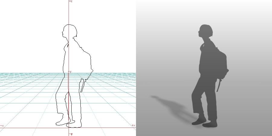 formZ 3D シルエット silhouette 女性 woman リュック 鞄 歩く walk
