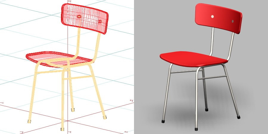 formZ 3D インテリア 家具 椅子 スチールパイプ椅子 interior furniture chair 店舗 業務用 イス