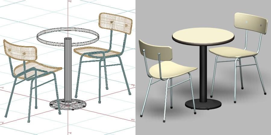 formZ 3D インテリア 家具 椅子 スチールパイプ椅子 interior furniture chair 店舗 業務用 イス テーブル table カフェ