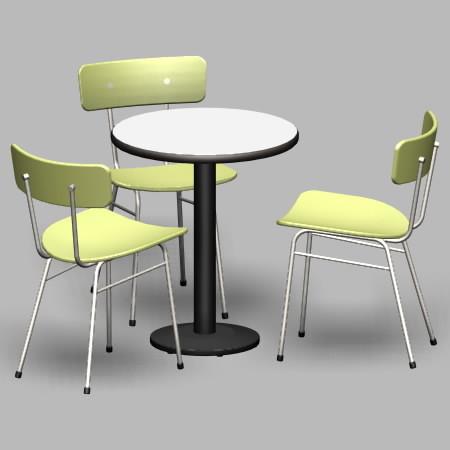 formZ 3D インテリア 家具 椅子 スチールパイプ椅子 interior furniture chair 店舗 業務用 イス テーブル table カフェ bar バー 喫茶 飲食店