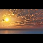 【CG】海と夕陽と 雲の広がる夕焼け空【背景画像】 sky_0023