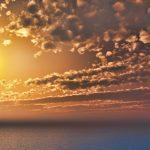 フリーデータ 2D CG 背景画像 空 雲 夕陽 夕焼け 夕暮れ 太陽 海 sky sunset cloud sea ocean