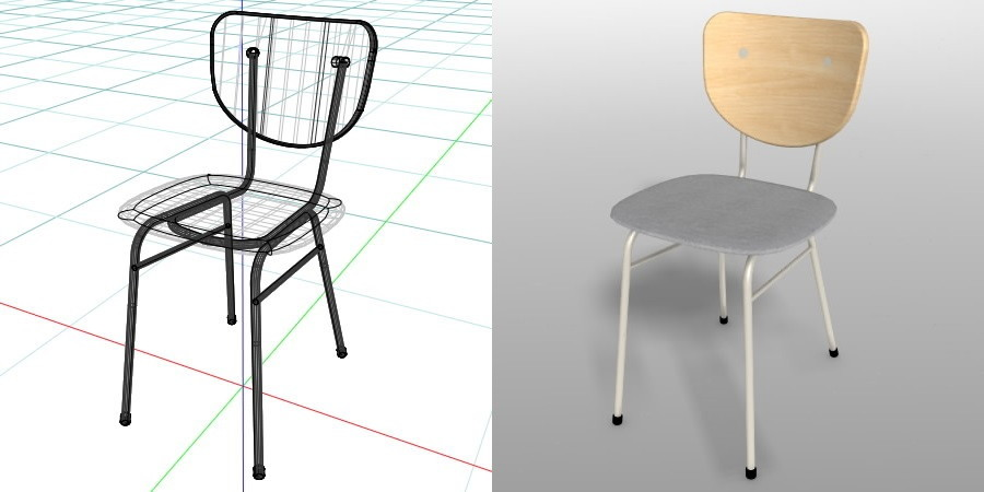 formZ 3D インテリア 家具 椅子 スチールパイプ椅子 interior furniture chair イス いす デスクチェア deskchair