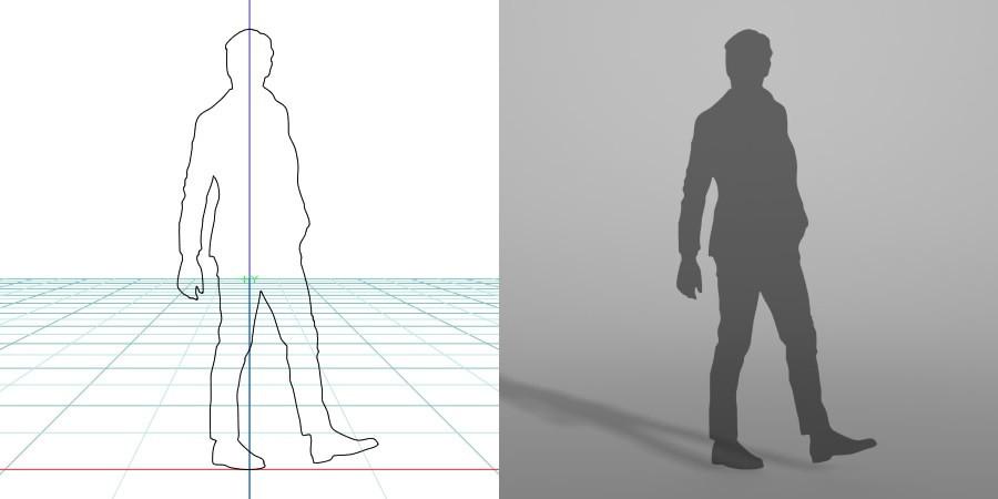 formZ 3D シルエット silhouette 男性 man ジャケット 歩く walk