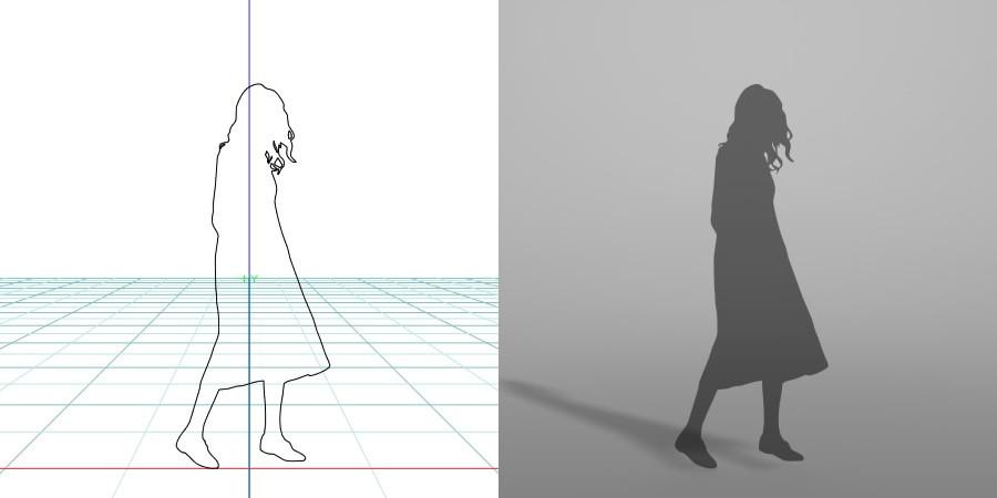 formZ 3D シルエット silhouette 女性 woman female lady スカート skirt ワンピース