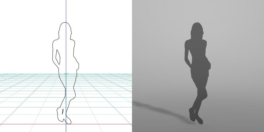 formZ 3D シルエット silhouette 女性 woman female lady ショートパンツ ホットパンツ short shorts