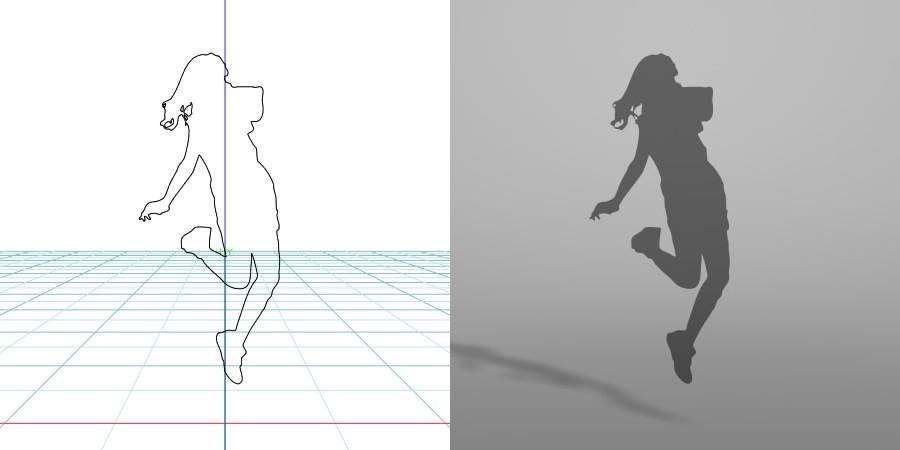 formZ 3D シルエット silhouette 女性 woman female lady 飛び跳ねる ジャンプ jump