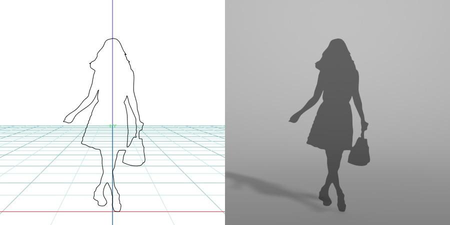 formZ 3D シルエット silhouette 女性 woman female lady スカート skirt 鞄 bag 歩く walk